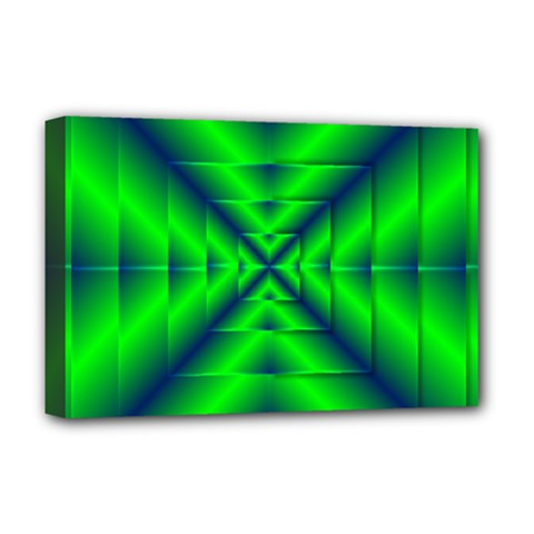 Shiny Lime Navy Sheen Radiate 3d Deluxe Canvas 18  X 12   by Celenk
