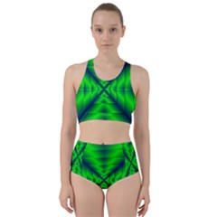 Shiny Lime Navy Sheen Radiate 3d Racer Back Bikini Set