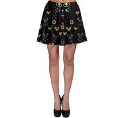 Merry Black Cat In The Night And A Mouse Involved Pop Art Skater Skirt by pepitasart