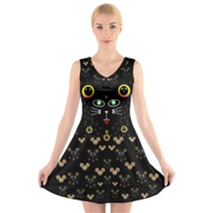 Merry Black Cat In The Night And A Mouse Involved Pop Art V Neck Sleeveless Skater Dress by pepitasart