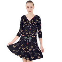 Merry Black Cat In The Night And A Mouse Involved Pop Art Quarter Sleeve Front Wrap Dress	 by pepitasart