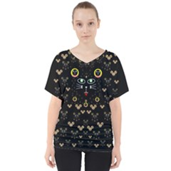 Merry Black Cat In The Night And A Mouse Involved Pop Art V Neck Dolman Drape Top by pepitasart