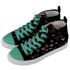 Merry Black Cat In The Night And A Mouse Involved Pop Art Women s Mid Top Canvas Sneakers by pepitasart