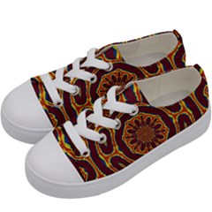 Geometric Tapestry Kids  Low Top Canvas Sneakers by linceazul