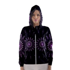 Fractal Mandala Delicate Pattern Hooded Wind Breaker (women) by Celenk