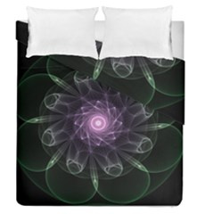 Mandala Fractal Light Light Fractal Duvet Cover Double Side (queen Size) by Celenk
