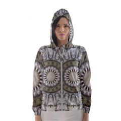 Mandala Sand Color Seamless Tile Hooded Wind Breaker (women) by Celenk