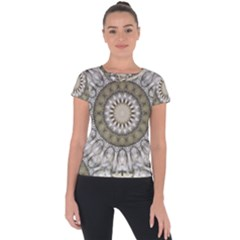 Mandala Sand Color Seamless Tile Short Sleeve Sports Top  by Celenk