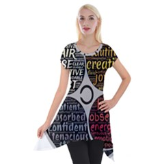 Person Character Characteristics Short Sleeve Side Drop Tunic by Celenk