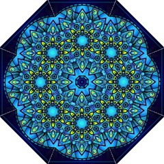 Mandala Blue Abstract Circle Straight Umbrellas by Celenk