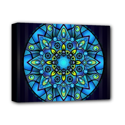 Mandala Blue Abstract Circle Deluxe Canvas 14  X 11  by Celenk
