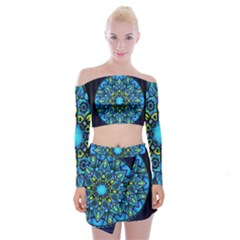 Mandala Blue Abstract Circle Off Shoulder Top With Mini Skirt Set by Celenk