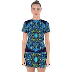 Mandala Blue Abstract Circle Drop Hem Mini Chiffon Dress by Celenk
