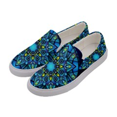 Mandala Blue Abstract Circle Women s Canvas Slip Ons by Celenk