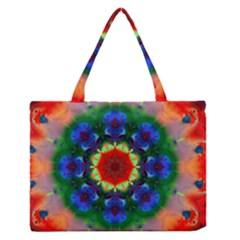 Fractal Digital Mandala Floral Zipper Medium Tote Bag by Celenk