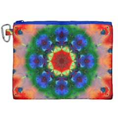 Fractal Digital Mandala Floral Canvas Cosmetic Bag (xxl)