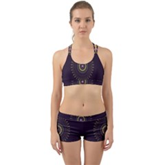 Fractal Purple Mandala Violet Back Web Sports Bra Set by Celenk
