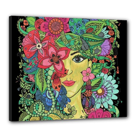 Mandala Figure Nature Girl Canvas 24  X 20