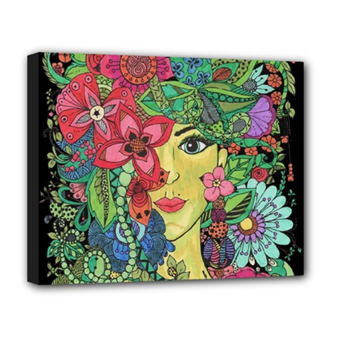 Mandala Figure Nature Girl Deluxe Canvas 20  X 16