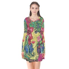 Mandala Figure Nature Girl Flare Dress