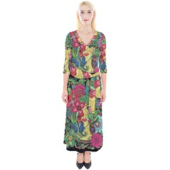 Mandala Figure Nature Girl Quarter Sleeve Wrap Maxi Dress by Celenk