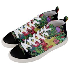 Mandala Figure Nature Girl Men s Mid Top Canvas Sneakers by Celenk