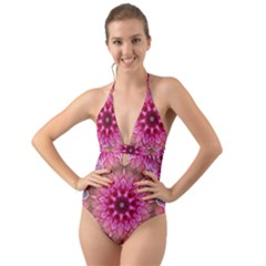 Flower Mandala Art Pink Abstract Halter Cut Out One Piece Swimsuit