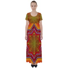 Mandala Zen Meditation Spiritual High Waist Short Sleeve Maxi Dress