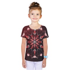 Mandala Red Bright Kaleidoscope Kids  One Piece Tee