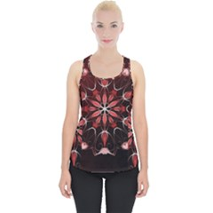 Mandala Red Bright Kaleidoscope Piece Up Tank Top by Celenk