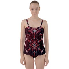Mandala Red Bright Kaleidoscope Twist Front Tankini Set