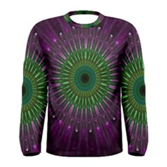 Purple Mandala Fractal Glass Men s Long Sleeve Tee