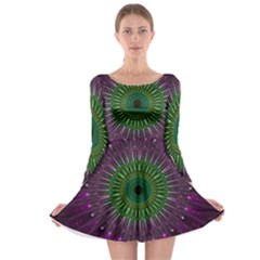 Purple Mandala Fractal Glass Long Sleeve Skater Dress