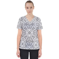 Mandala Pattern Line Art Scrub Top