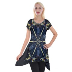 Mandala Butterfly Concentration Short Sleeve Side Drop Tunic