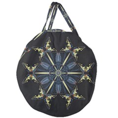 Mandala Butterfly Concentration Giant Round Zipper Tote