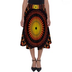Mandala Psychedelic Neon Perfect Length Midi Skirt by Celenk