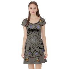 Bird Mandala Spirit Meditation Short Sleeve Skater Dress