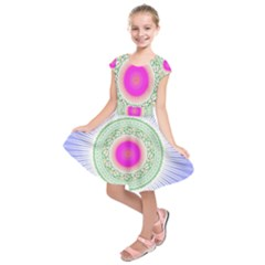 Flower Abstract Floral Kids  Short Sleeve Dress by Celenk