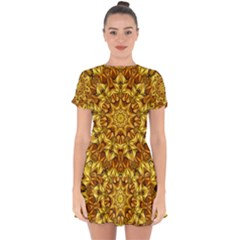 Abstract Antique Art Background Drop Hem Mini Chiffon Dress