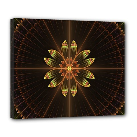 Fractal Floral Mandala Abstract Deluxe Canvas 24  X 20