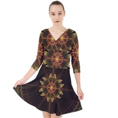 Fractal Floral Mandala Abstract Quarter Sleeve Front Wrap Dress