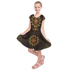Fractal Floral Mandala Abstract Kids  Short Sleeve Dress by Celenk
