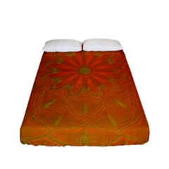 Background Paper Vintage Orange Fitted Sheet (full/ Double Size) by Celenk