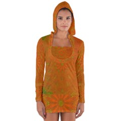 Background Paper Vintage Orange Long Sleeve Hooded T Shirt