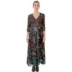 Art Artwork Fractal Digital Art Button Up Boho Maxi Dress by Celenk