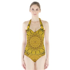 Pattern Petals Pipes Plants Halter Swimsuit by Celenk