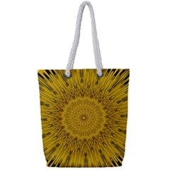 Pattern Petals Pipes Plants Full Print Rope Handle Tote (small)