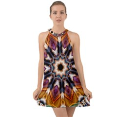 Kaleidoscope Pattern Kaleydograf Halter Tie Back Chiffon Dress