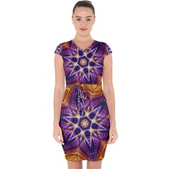 Kaleidoscope Pattern Kaleydograf Capsleeve Drawstring Dress